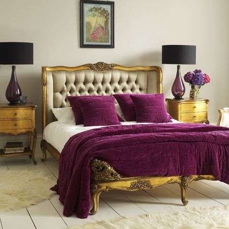 Gorgeous Headboard Bed Frame And Rich Purple Accents Colorful