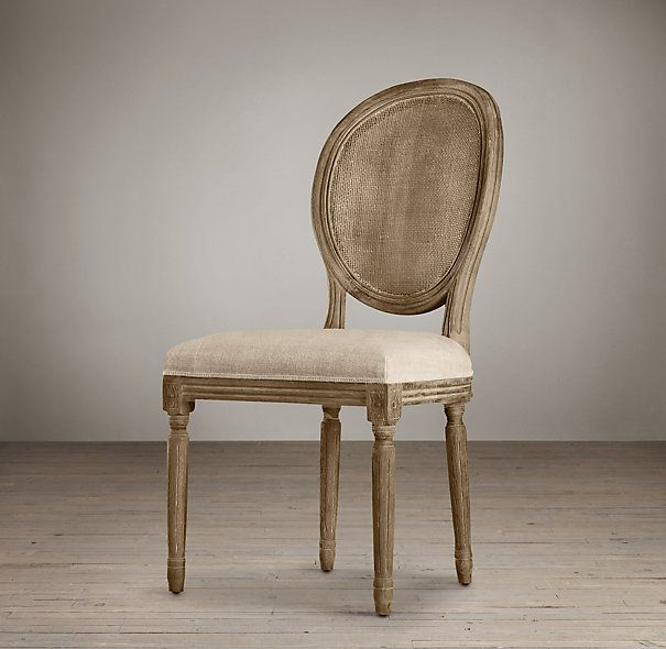 Vintage French Cane Back Round Upholstered Side Chair