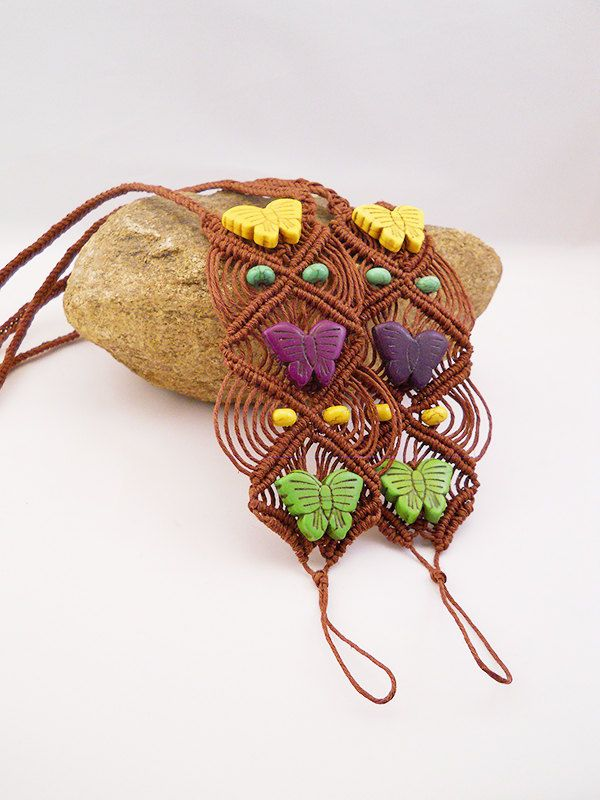 Gypsy Butterfly Hemp Barefoot Sandals,Anklets, Insect Jewelry, Hippie, Boho, One of A Kind,Festival Jewelry,Micromacrame,OOAK Handmade by PeaceLoveNKnottyHemp on Etsy