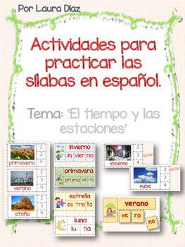 Estas actividades las puedes poner en unos de los centros de trabajo para que los estudiantes practiquen el reconocimiento del nmero de slabas en cada palabra y construyan palabras usando tarjetas de slabas.