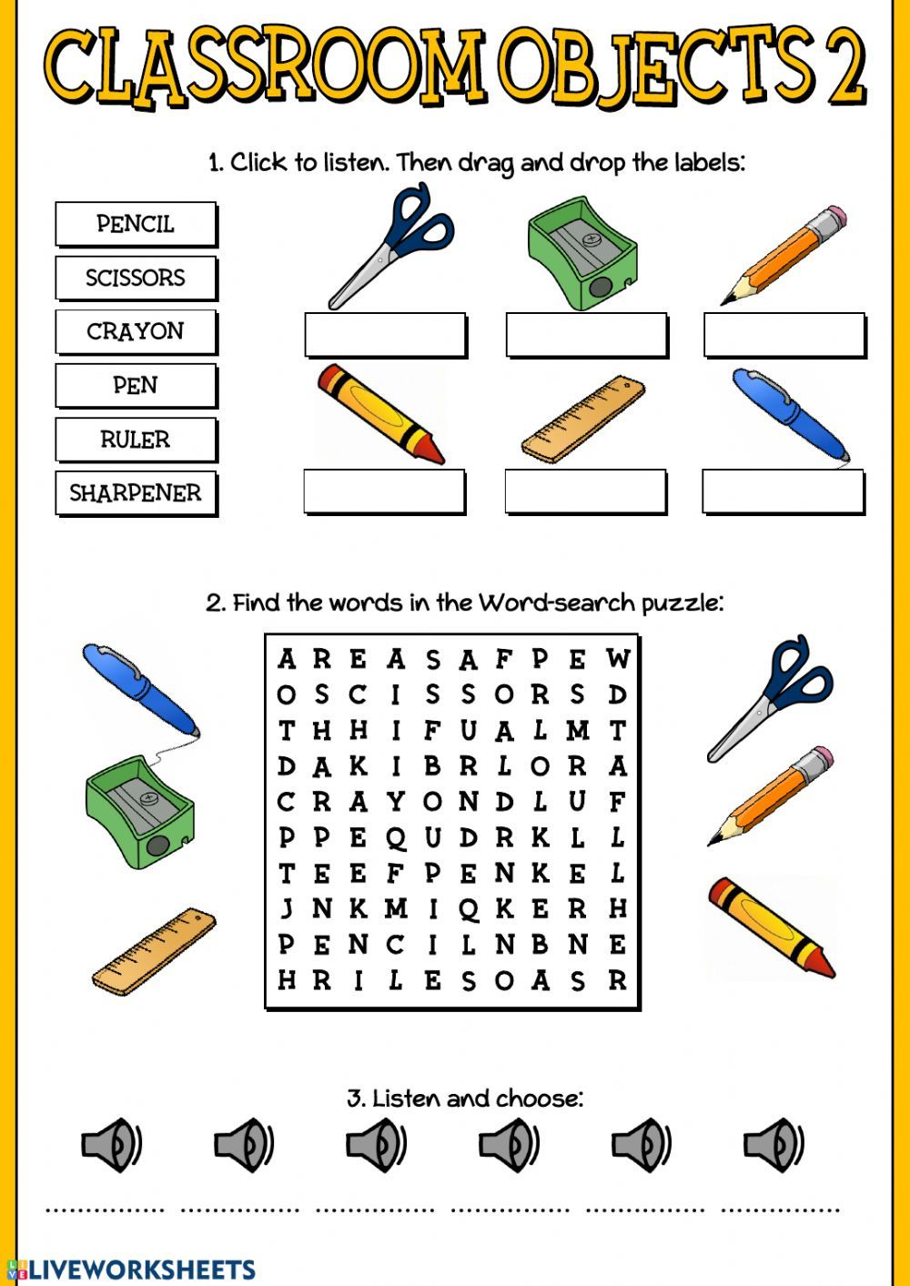 Classroom objects 2 - Interactive worksheet   English language learning  activities [ 1413 x 1000 Pixel ]