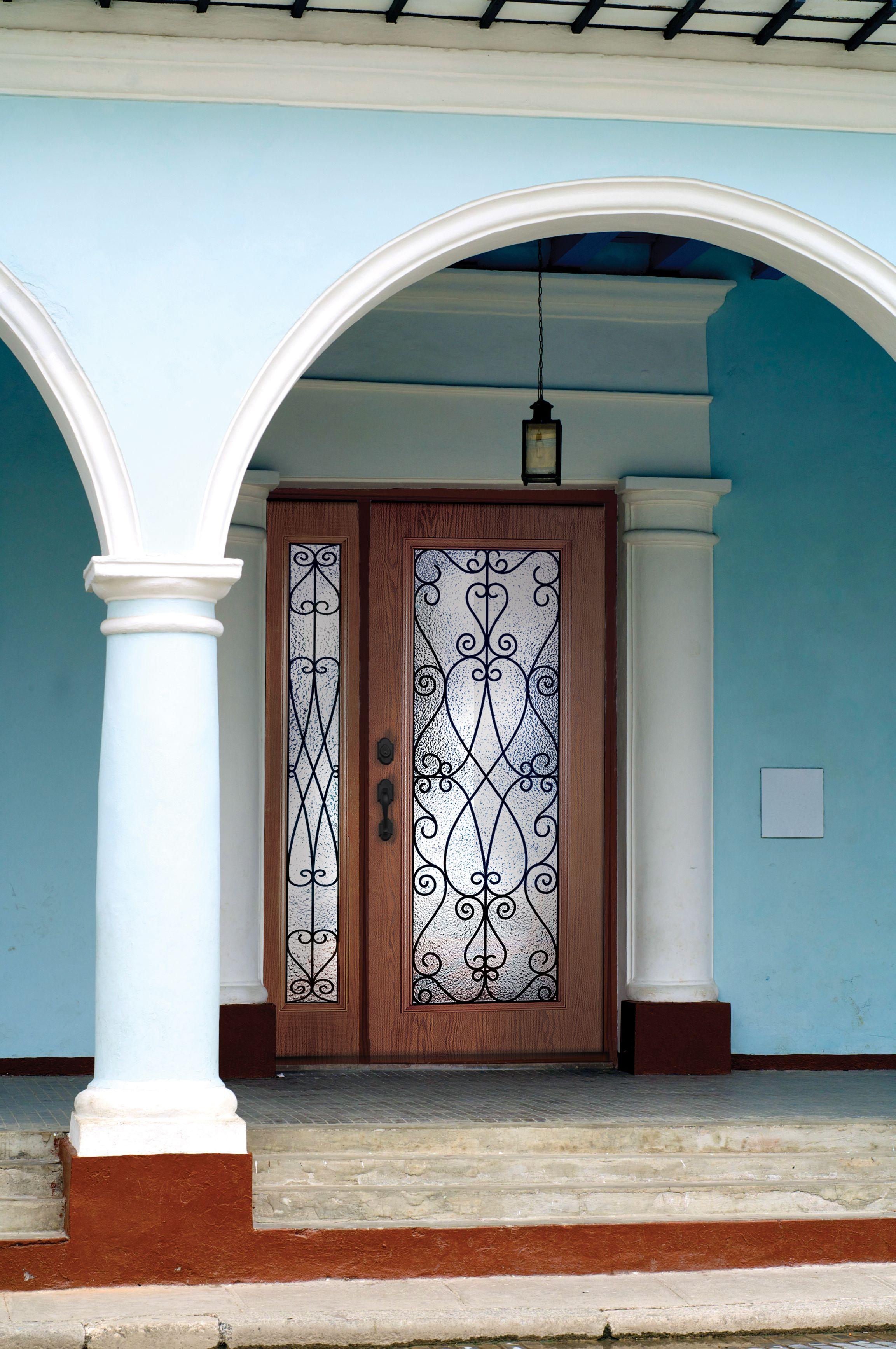 Plastpro Fiberglass door w/ full lite Priscilla Glass & Plastpro Traditional Style Woodgrain Fiberglass Doors | Plastpro ... pezcame.com