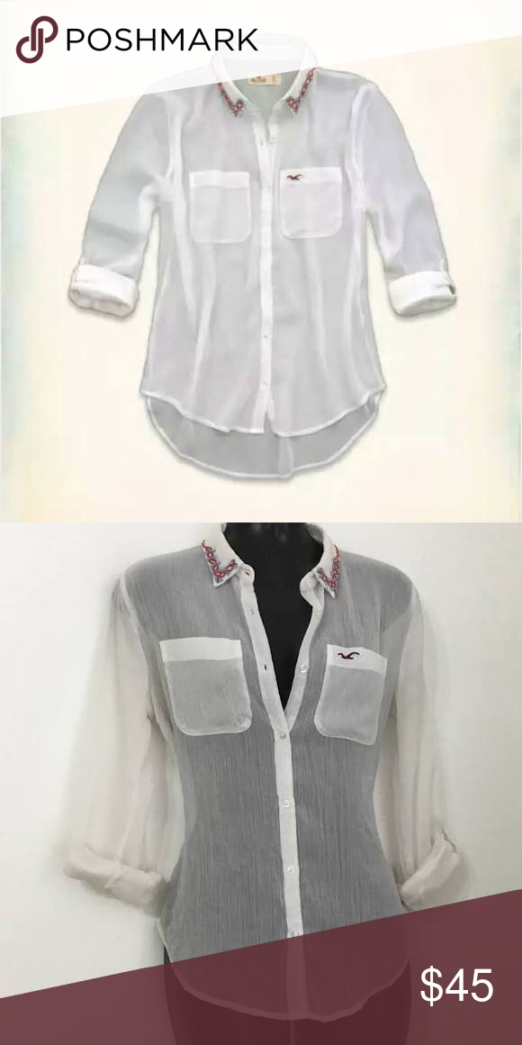 Hollister Blouse New Without Tags White See Through Hollister Button Down. Rolled Up, Buttoned Sleeves And Embroidered Vintage Beaded Patterns on Neck Collar. Supersoft Chiffon and Hi-Lo Hem.  Super cute with leggings or skinny jeans :) Hollister Tops Blouses