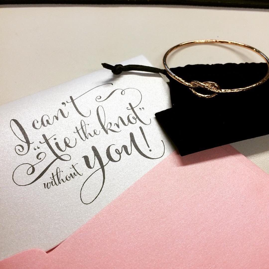 I can\'t tie the knot without you! Bridesmaid card and rose gold knot ...
