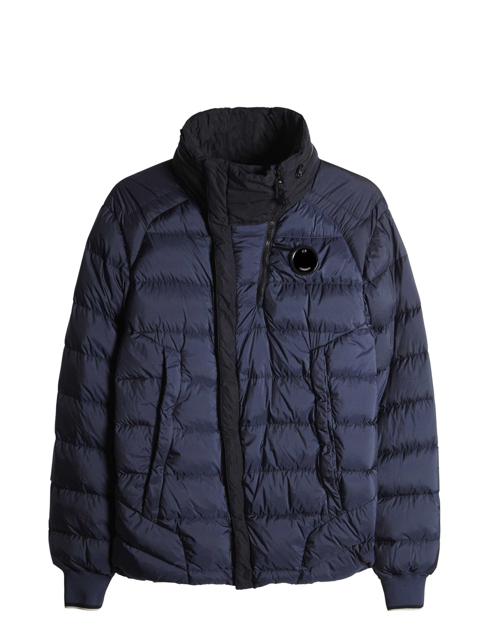 C.P. Company DD SHELL HOODED DOWN JACKET with lens in Navy