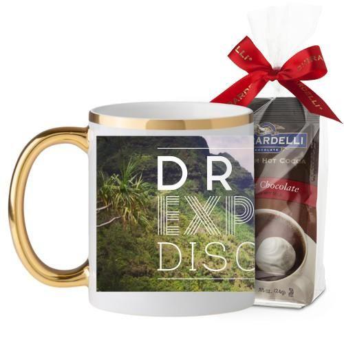 Dream Explore Discover Mug, Gold Handle, with Ghirardelli Premium Hot Cocoa, 11 oz, White