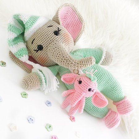 Elefant häkeln / mit Mini-Tier u. Schlafmütze