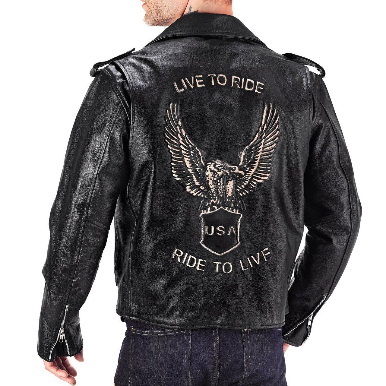 Viking Cycle American Eagle Leather Jacket For Men Leather Jacket Men Leather Motorcycle Jacket Motorcycle Jacket Mens [ 1280 x 1280 Pixel ]