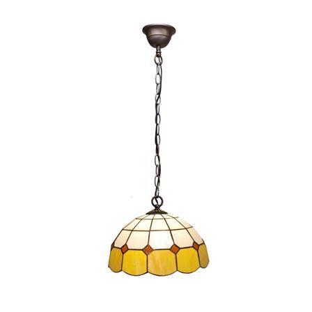 Lámpara de suspensión con pantalla de estilo Tiffany amarillo, 30 x 30 x 30 cm