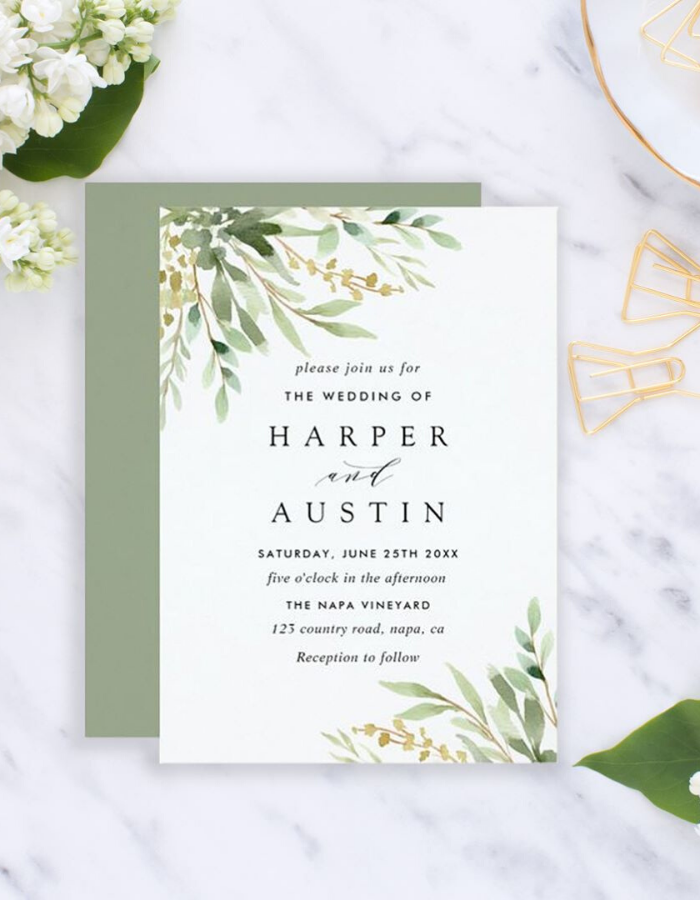 Green Botanical Wedding Invitation -   15 wedding Card watercolor ideas