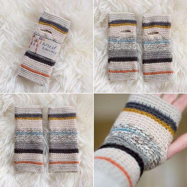 striped wristwarmers—great mix of colours