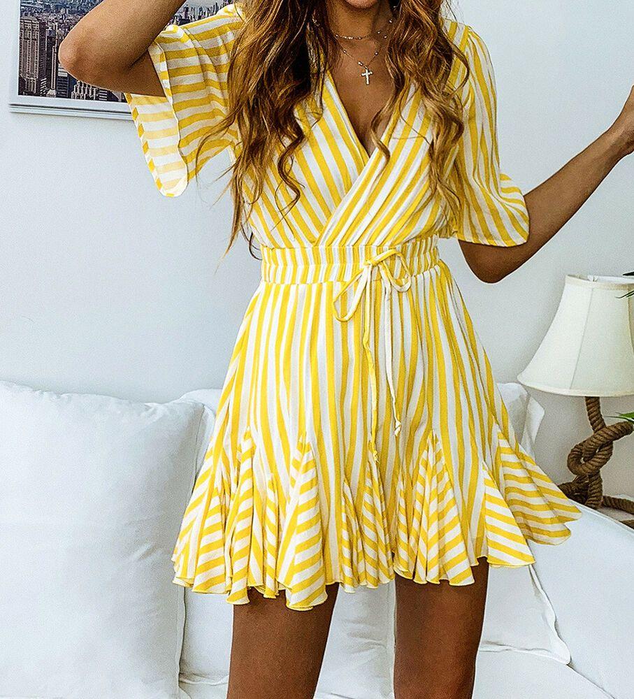 New Yellow White Striped Skater Dress Uk Size 8 14 First Class Uk Seller Fashion Clothing Short Sleeve Mini Dress Pleated Mini Dress Short Summer Dresses