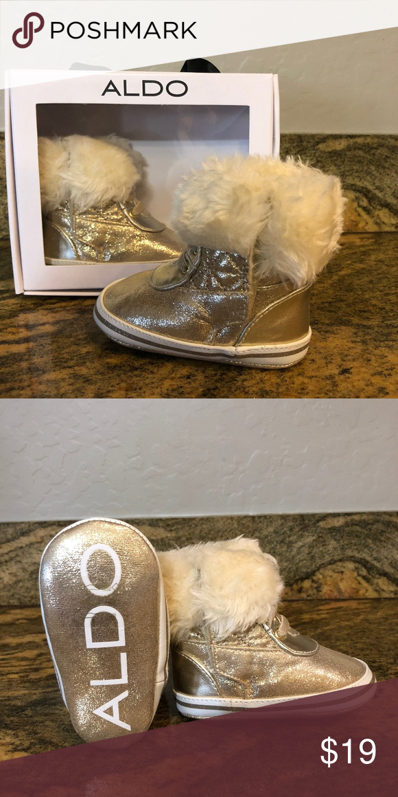 2538c8a693 Infant Boots Faux shearling baby booties. Details Aviator Materials Main:  Metal Color: Gold Aldo Shoes Boots