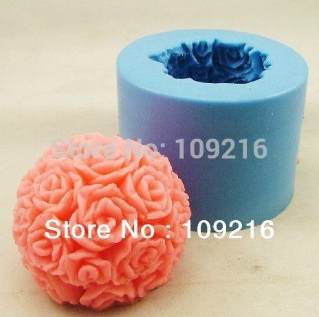 wholesale!! 3D 6.5*5.5cm Rose Ball(H0197) Silicone Handmade Candle Mold Crafts DIY Mold