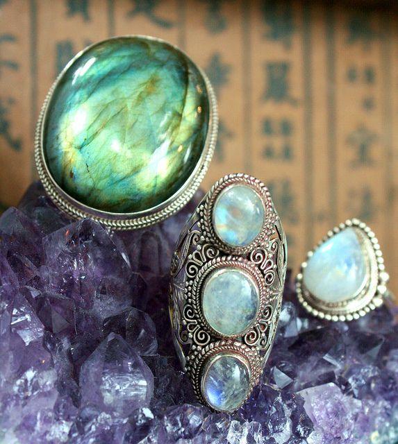 3 stone Moonstone saddle style ring from Nepal, Large oval Labradorite ring, India.