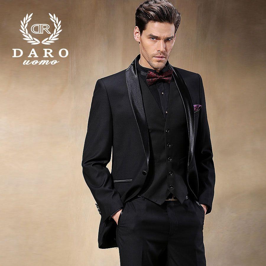 Brand DAROuomo Groom Wear Tuxedos Groomsmen Wedding Suits Men's Party Suit  Full Skinny Dress Blazer Black