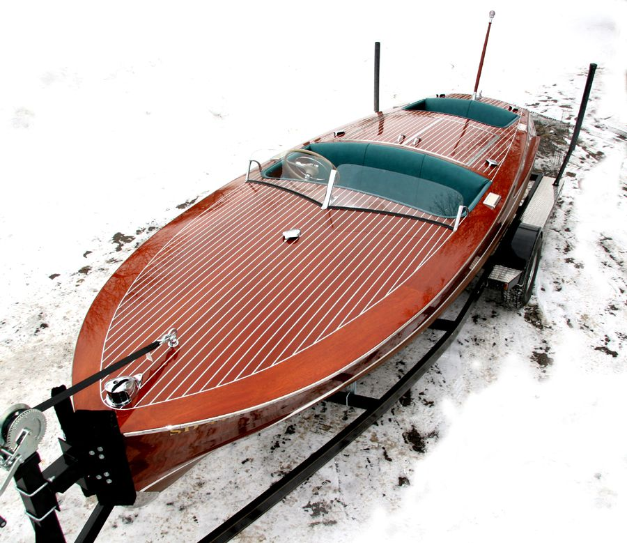 1950 19 ft chris craft racing runabout wooden boats for Runabout boats with outboard motors