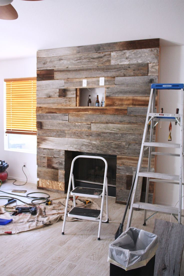 DIY Reclaimed Wood Fireplace   Home: Fireplace   Wood ...
