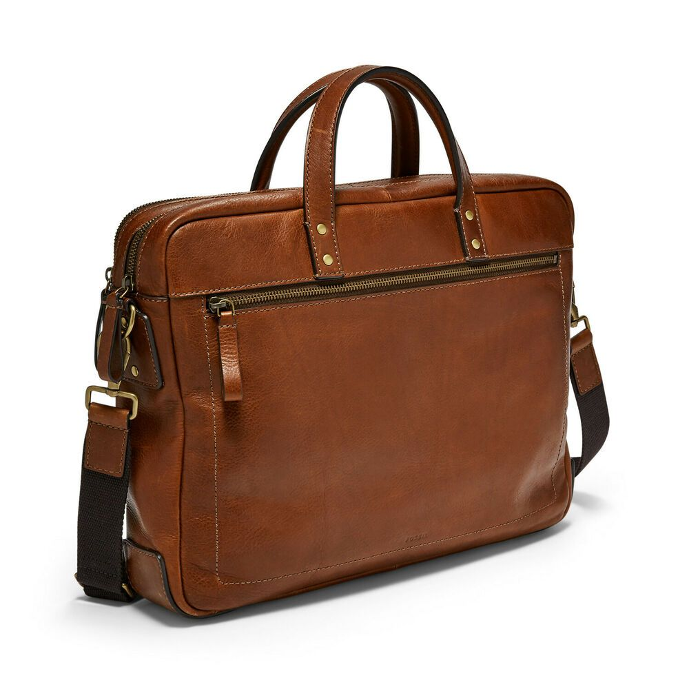 Men/'s Genuine Leather Portfolio Messenger Tote Bags Double Zipper Top Laptop Bag