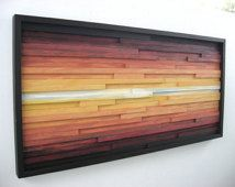 Abstract Landscape Painting on Wood, Wood Wall Art, Wood Sculpture Wall Art