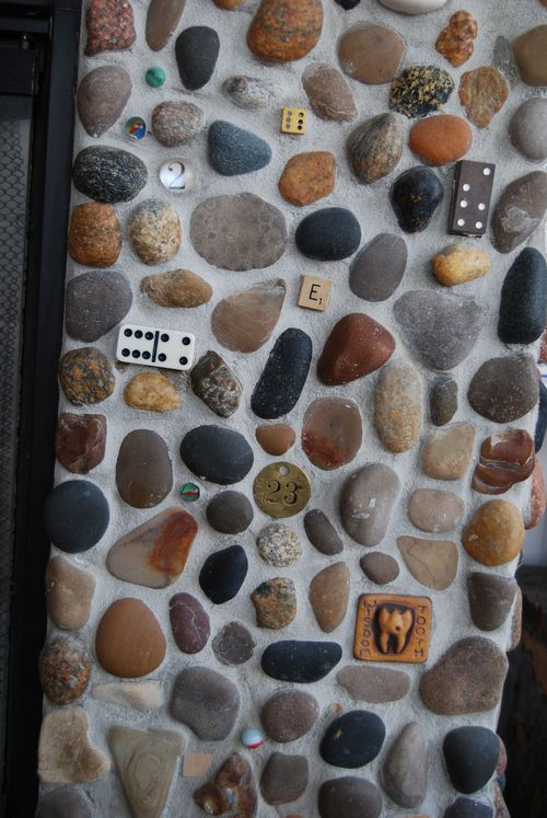 close-up of river rock fireplace.