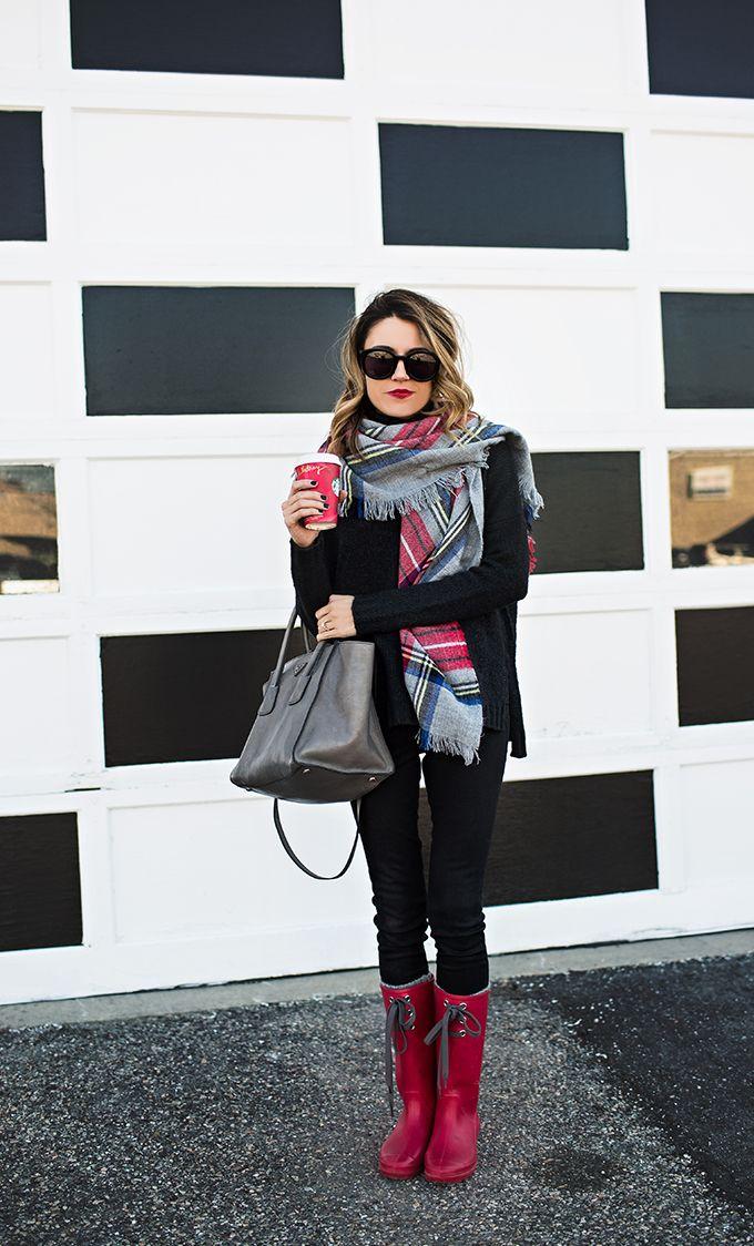 hello fashion #plaidscarf #scarf #rainboots #redboots #rainydayoutfit #rainyweather