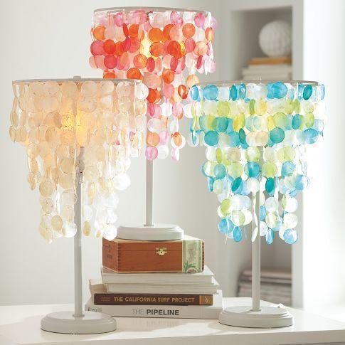 Capiz Table Lamp + CFL Bulb, White | PB Teen, Alcove and Room