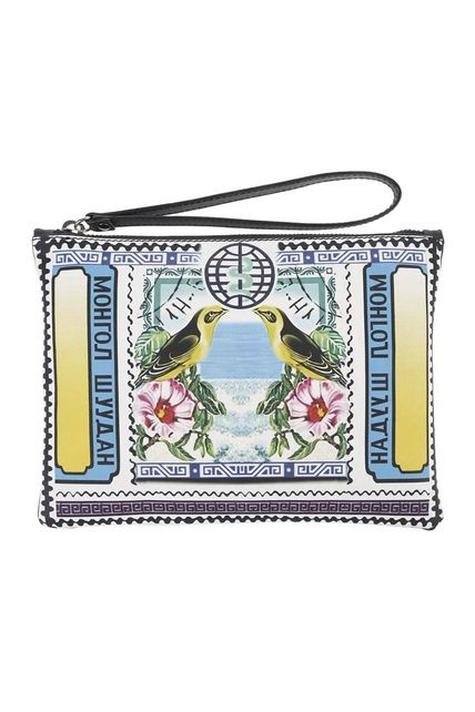 Mary Katrantzou se inspiró en la numismática para su colección de primavera e imprimió vestidos y bolsos con sellos multicolores (520€)