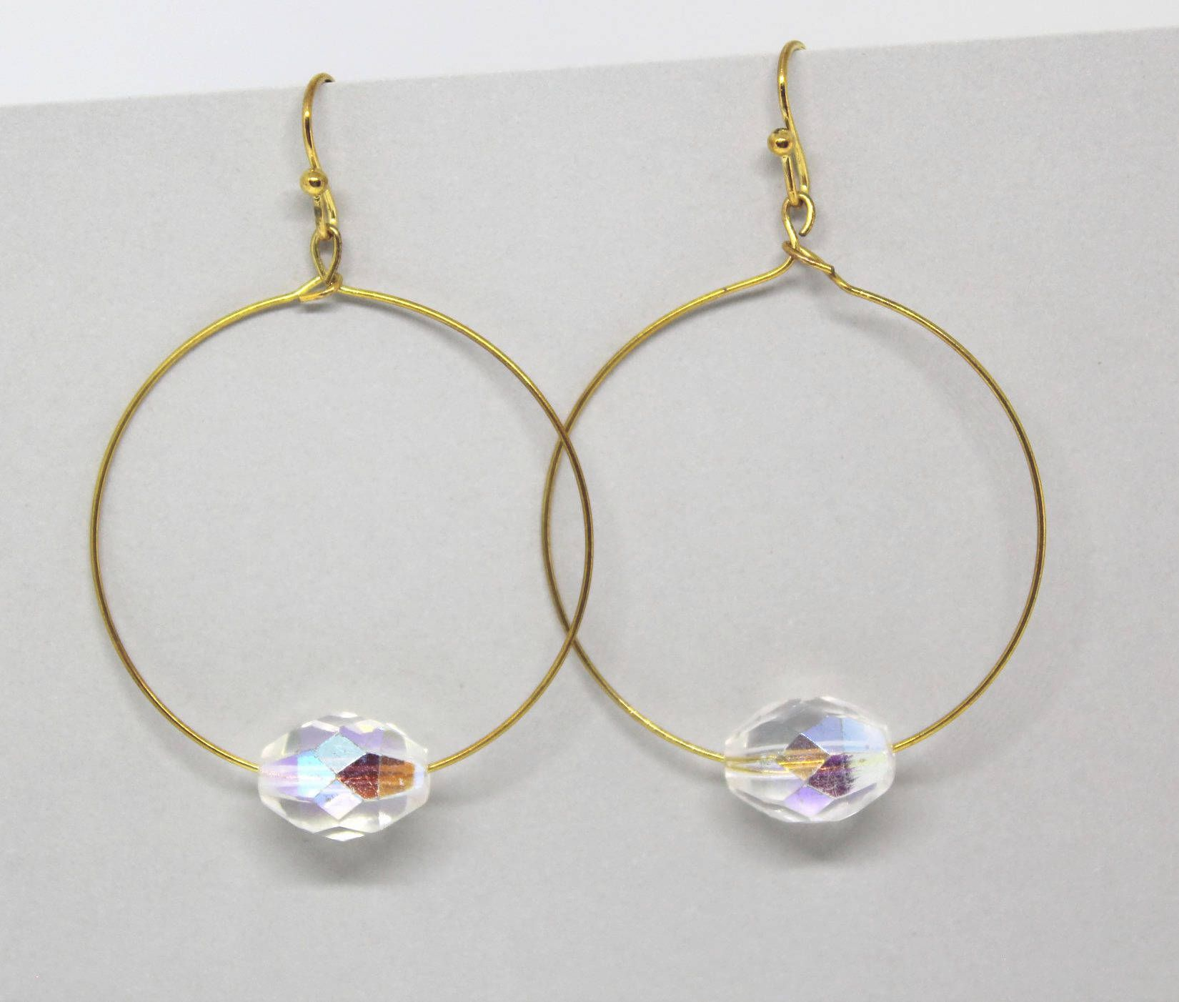 Thin Wire Hoops/ Large Thin Hoops/ Shiny Gold Hoops/ Open Circle ...