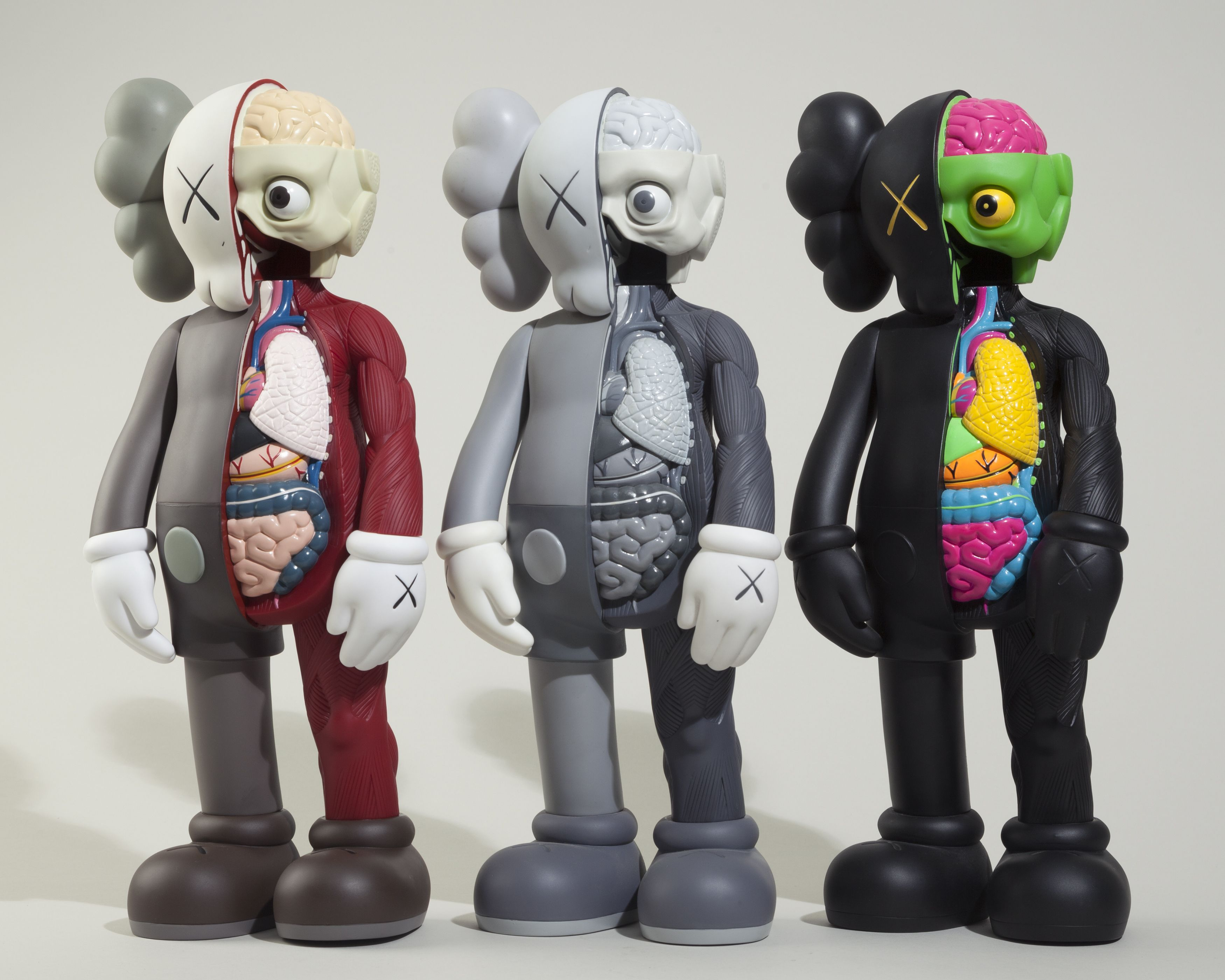 2fac1e5b440 KAWS Dissected Companion (complete set of 3, brown, grey and black ...