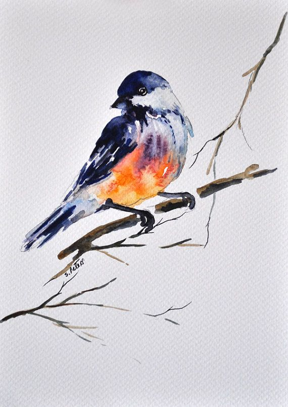 Original Aquarell Malerei Von Vogel Vogel Illustration 6 X 8 In