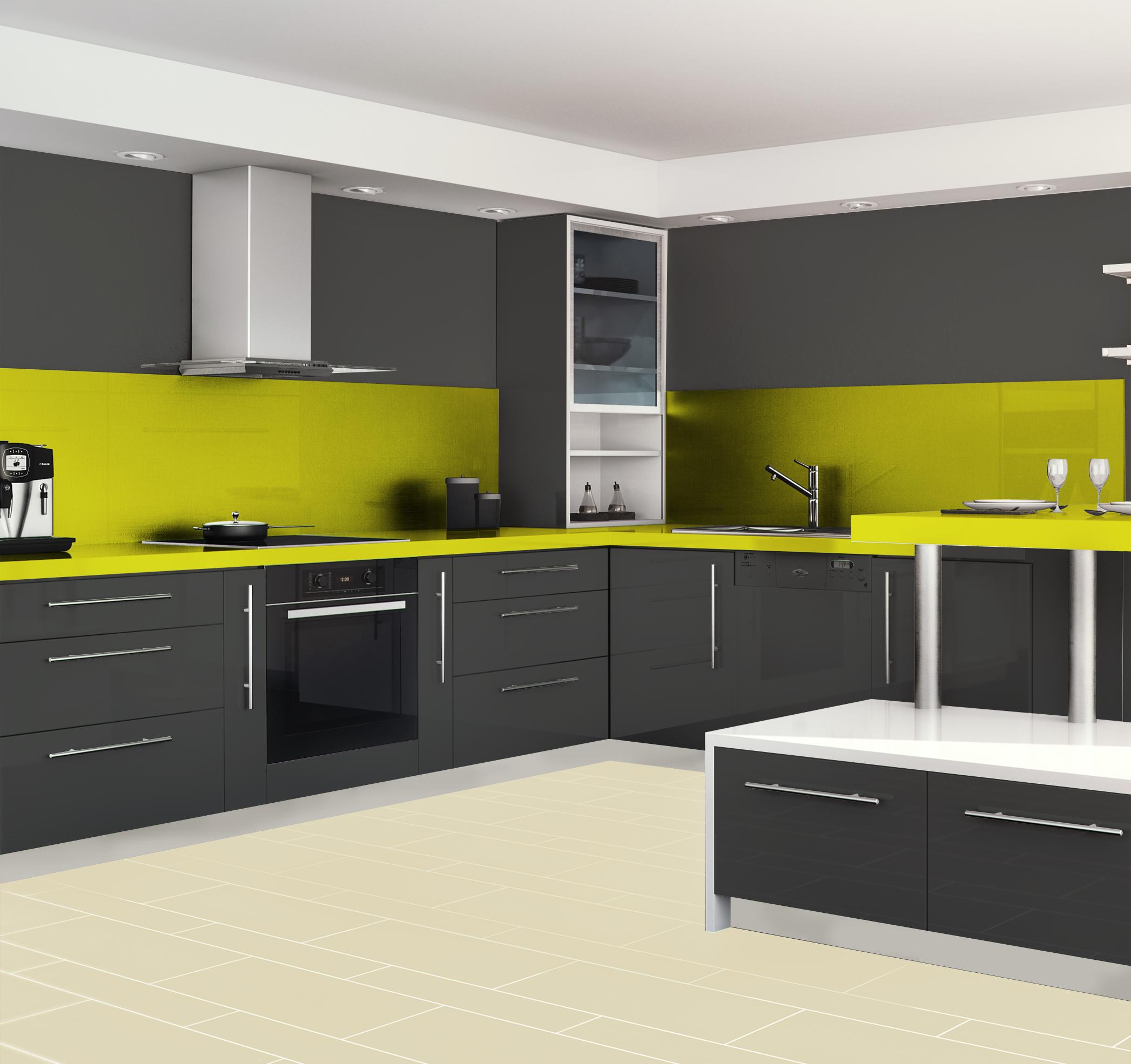 esprit urbain simulation avec la teinte gris pavot fa ades meubles la teinte pom pomme. Black Bedroom Furniture Sets. Home Design Ideas
