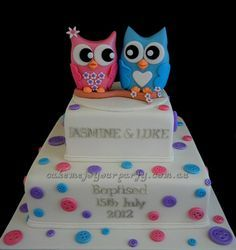Twin Owl Cake Twin boys Twins and Birthday cakes