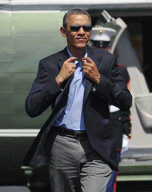 1b58ef50100de8 The suit, the sunglasses, the nonchalant swagger – what's not to like?  Unlike most politicians, Obama is genuinely cool Photograph: Mandel  Ngan/AFP/Getty ...