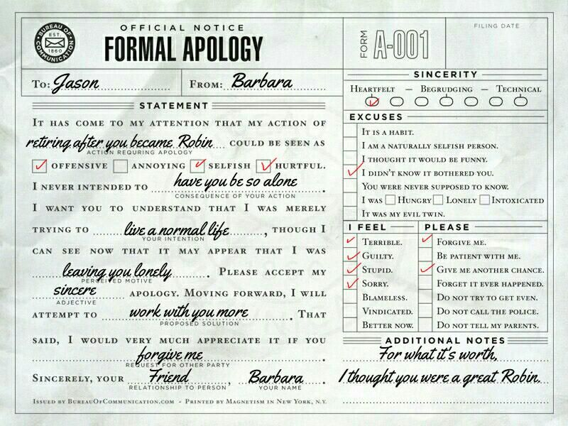 Batfamily apologies ✓ Batfamily Apologies Tumblr ✓ Pinterest - formal apology letters