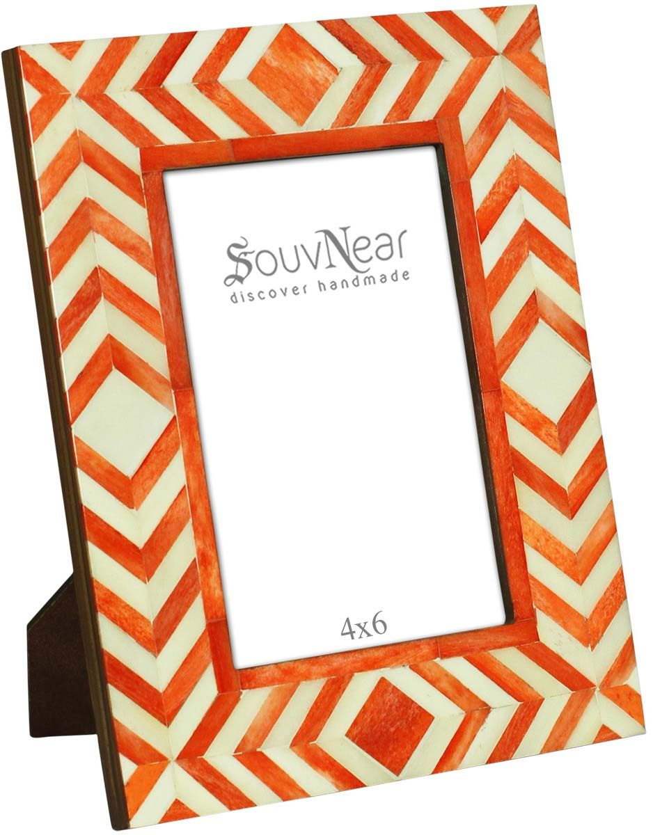 Rectangular Photo Frame in MDF & Bone – White & Orange Chevron ...