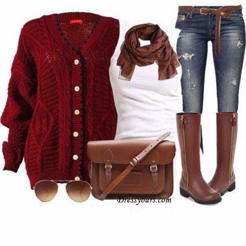 Stylish red cardigan, brown scarf, white blouse, jeans, brown long boots and handbag