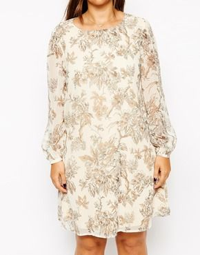 Image 3 of ASOS CURVE Exclusive Shift Dress In Sketch Floral Print $82.61