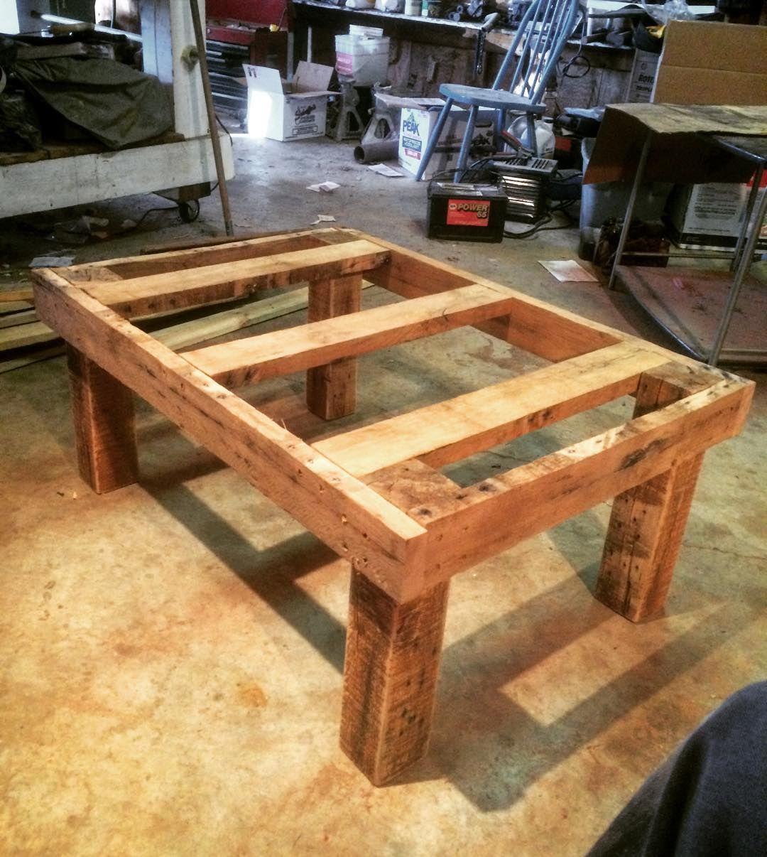 Orange Pallet Wood Table Frame