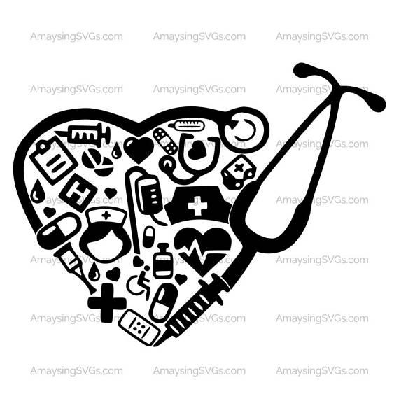 Medical Collage Stethoscope svg Medical Decal svg Nurse RN