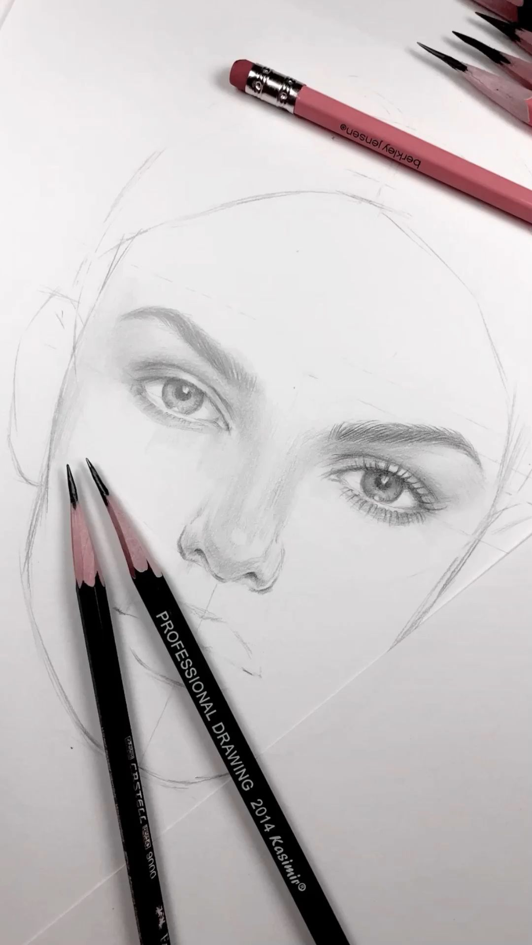 WIP. Drawing of a face by Nadia Coolrista. Part1 -   10 hair Art sketch ideas