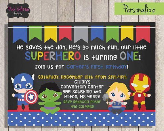 Superhero First Birthday Invite