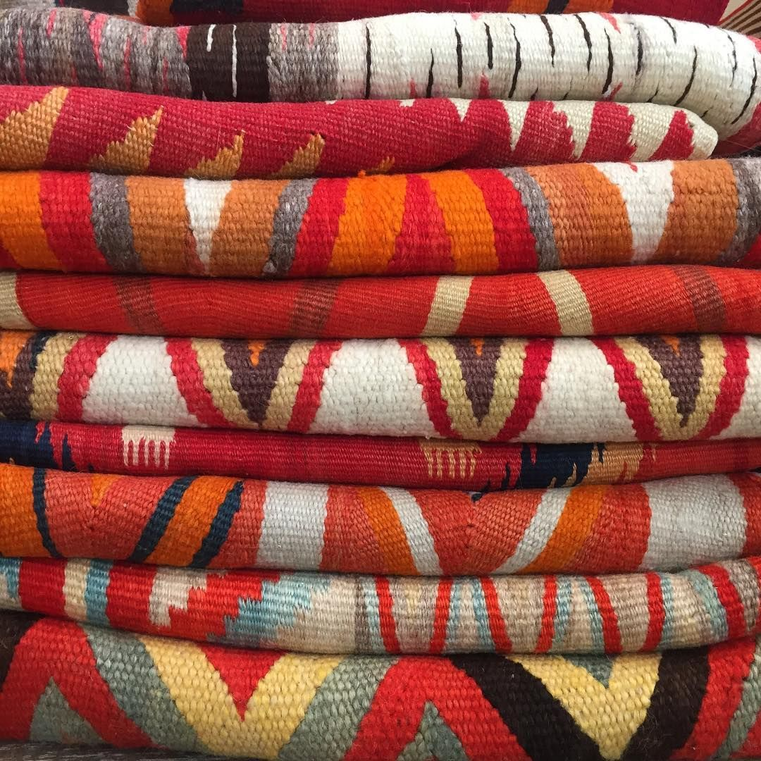 A Stack Of Vintage Navajo Blankets At Shiprock Santa Fe On