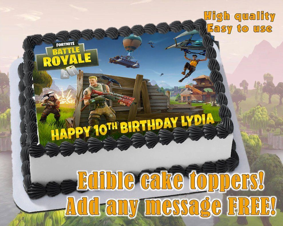 Fortnite Edible cake topper decoration, personalized party