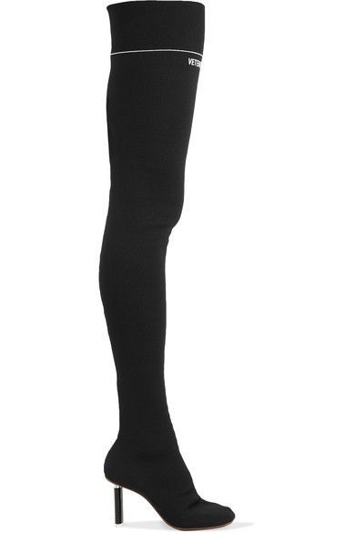 Vetements Lighter Heel Over The Knee Sock Boots In Black Modesens Thigh High Sock Boots Over The Knee Boots Socks And Heels