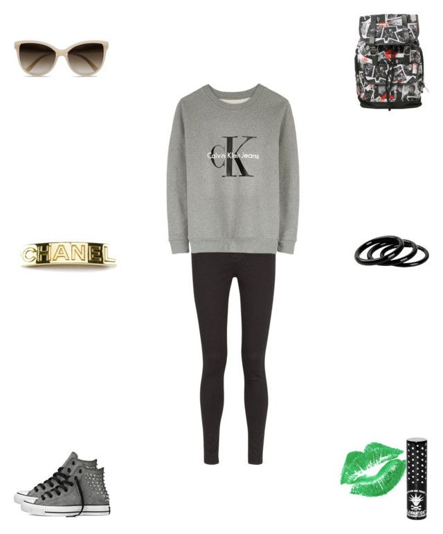 """Untitled #2285"" by webbgyrl2000 ❤ liked on Polyvore featuring AG Adriano Goldschmied, Calvin Klein, Converse, STELLA McCARTNEY, Chanel, Furla and Manic Panic"