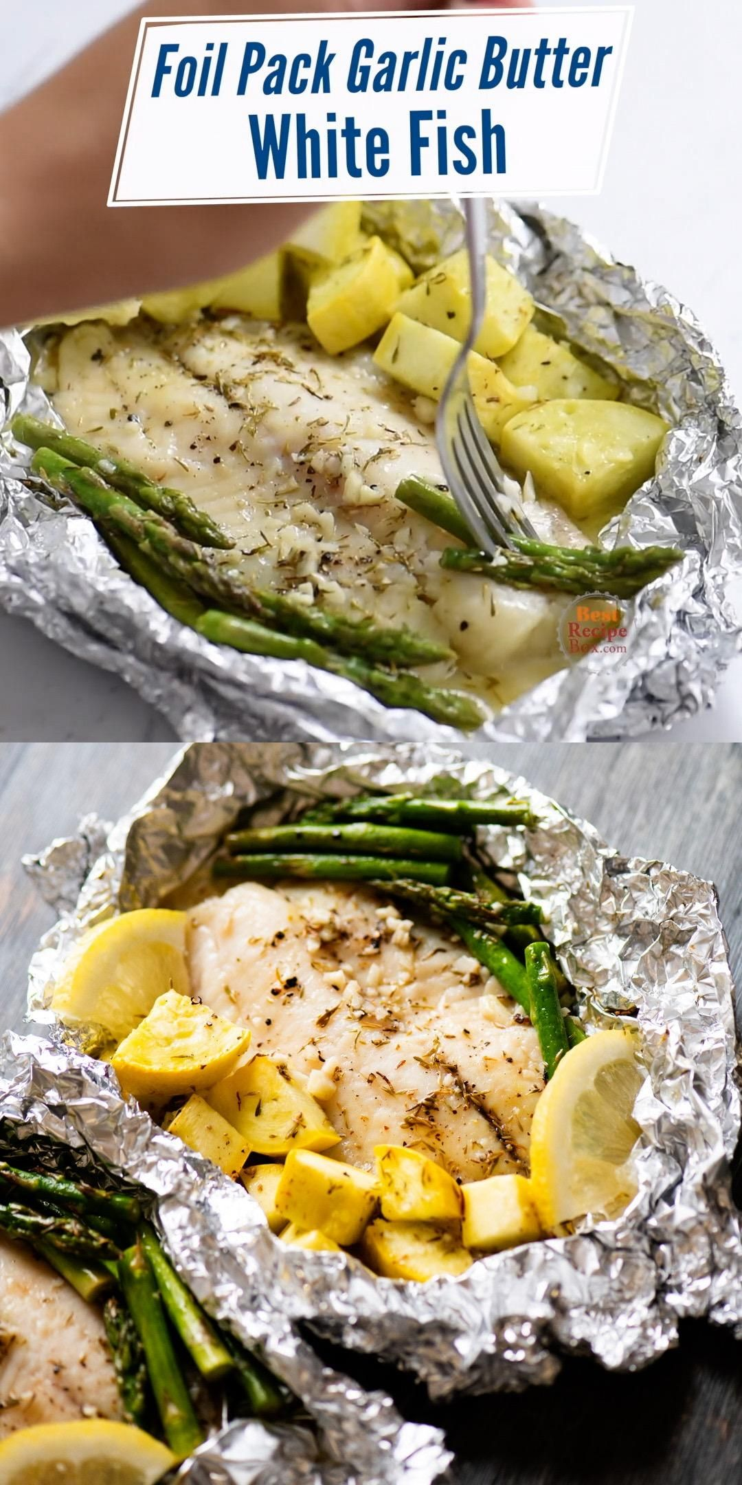 Our healthy white fish recipe with is tender, flavorful and delicious. All cooked in an easy foil pack wrap for easy cleanup too!