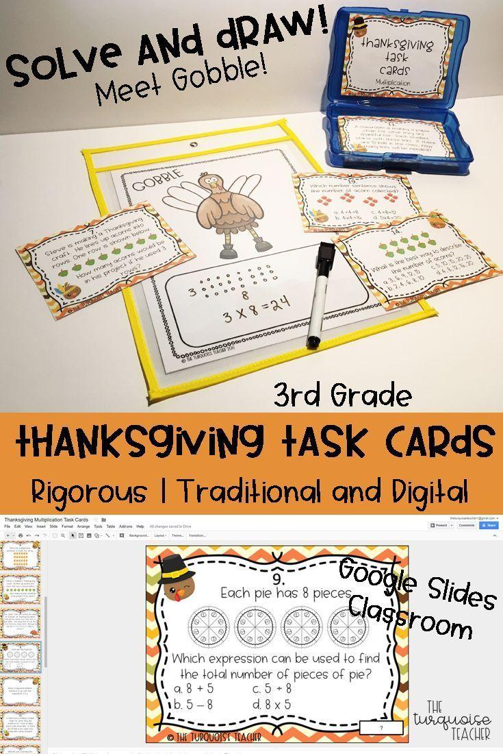 Third Grade Thanksgiving Multiplication Math Task Cards / Google ...