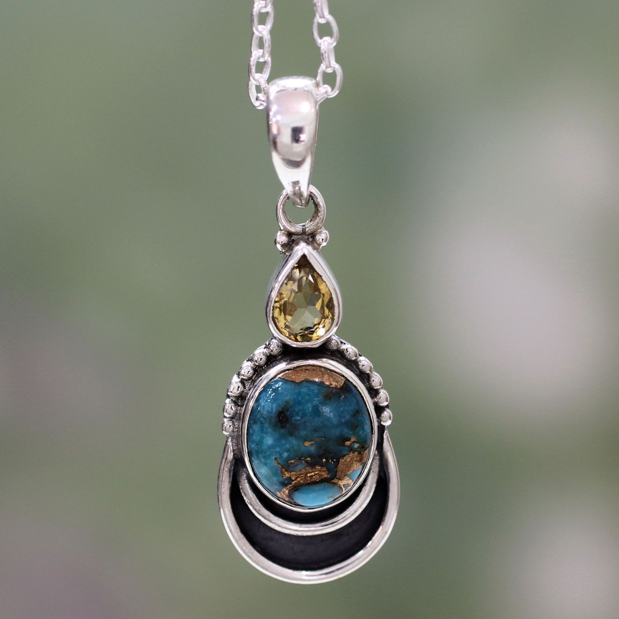 Novica Sterling 'Eternal Allure' Citrine Turquoise Necklace