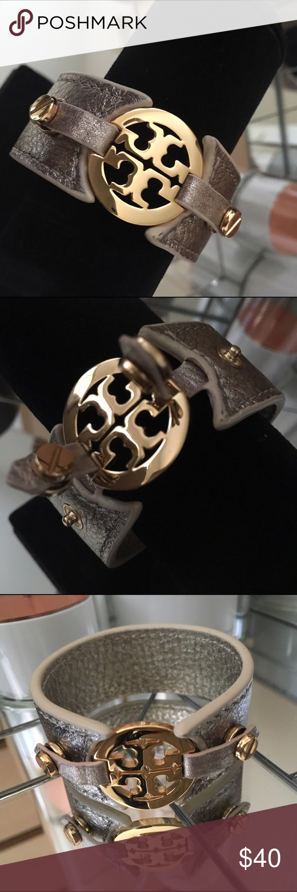 """Tory Burch Leather Cuff Like New // 1"""" Thick // Gold Hardware // Champagne Gold Colored Leather // I have a 6"""" wrist for reference  Tory Burch Jewelry Bracelets"""